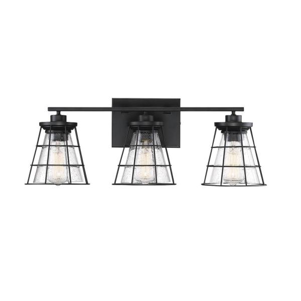 3-Light Black Bath Vanity Light with Clear Seeded Glass
