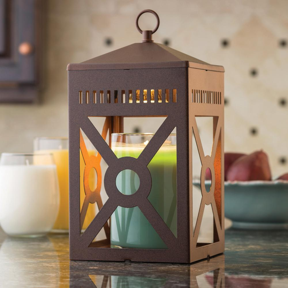Beautiful Candle Warmers Etc 12.3 In. Rustic Brown Mission Candle Warmer Lantern