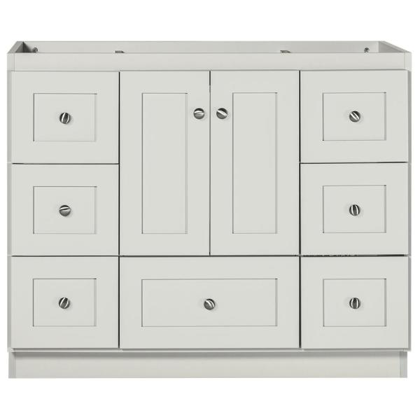 Shaker 42 in. W x 21 in. D x 34.5 in. H Bath Vanity Cabinet Only with Center Basins in Dewy Morning