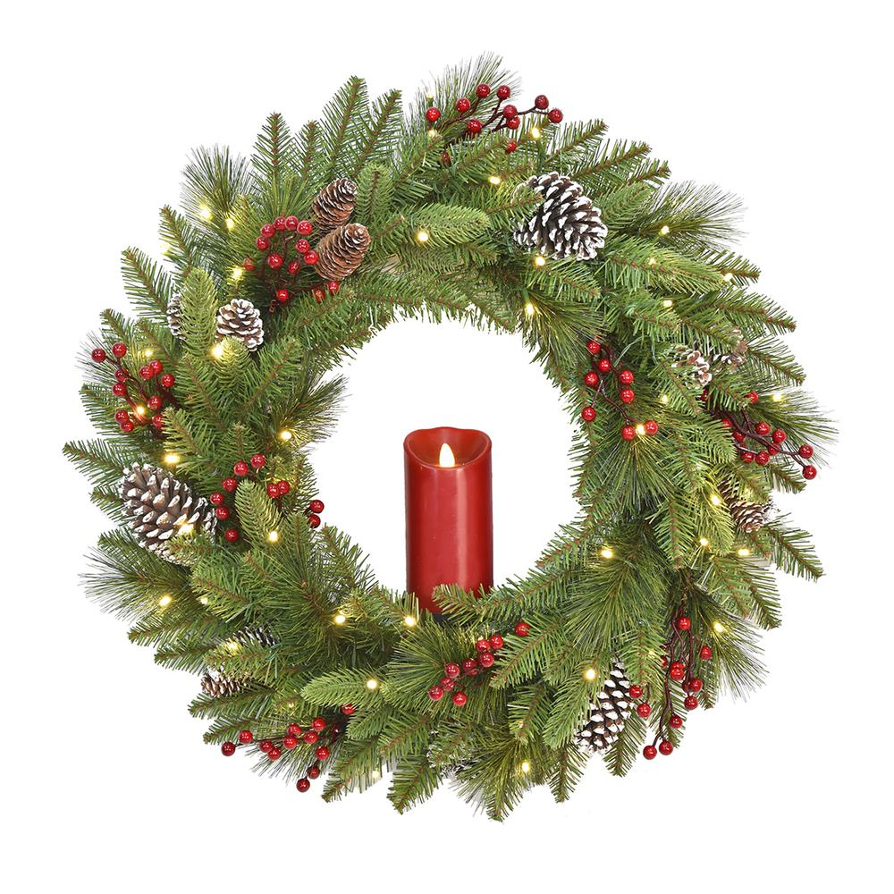 24 in. Feel Real Bristle Berry Wreath with 50 Battery Operated