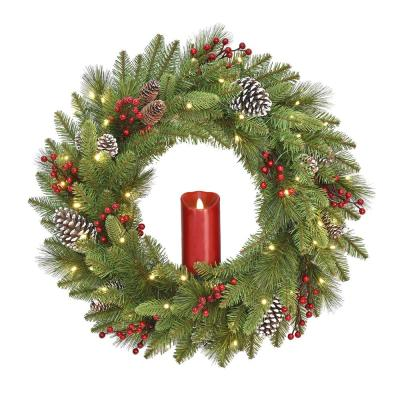 24 in. Feel Real Bristle Berry Wreath with 50 Battery Operated LED Lights, Red Electronic Candle Red Berries