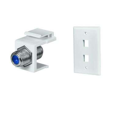2-Port Wall Plate and Twist-On F-Connector in White