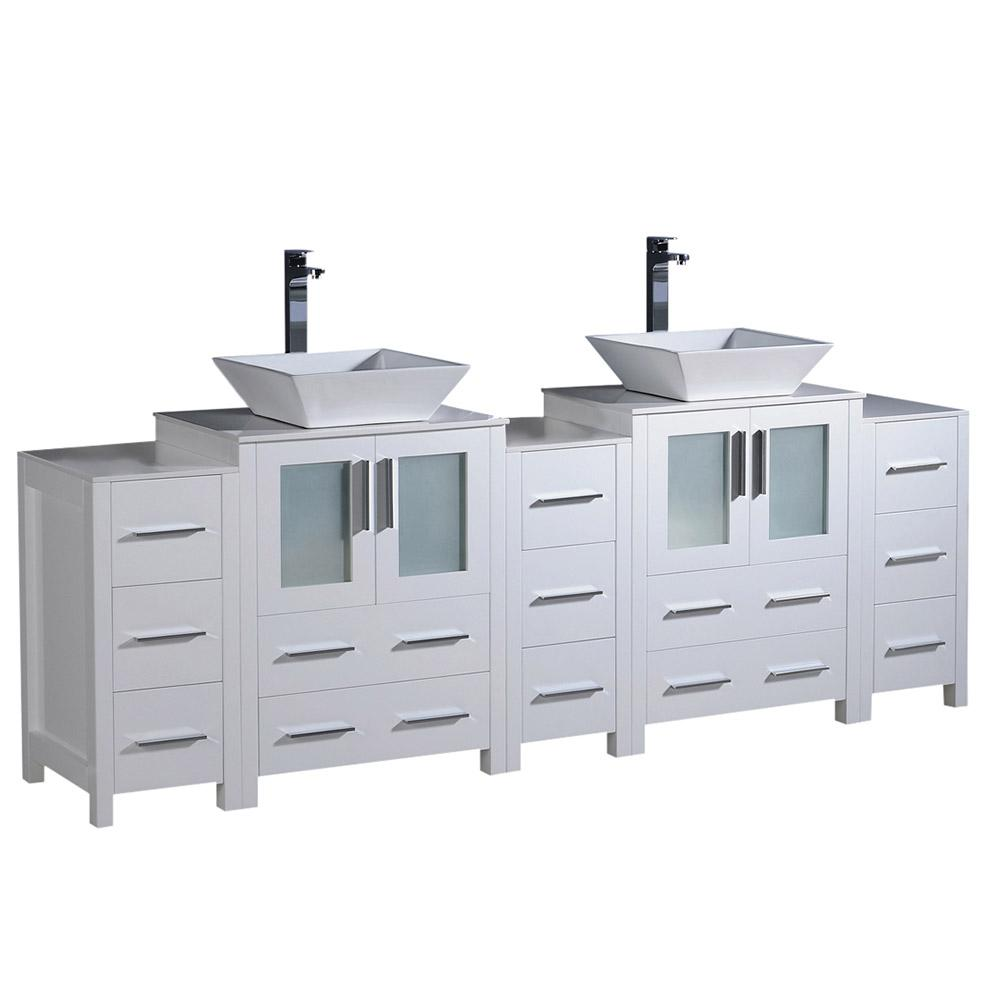 Fresca Torino 84 in. Double Vanity in White with Glass Stone Vanity Top in White with White Basin and Side Cabinets
