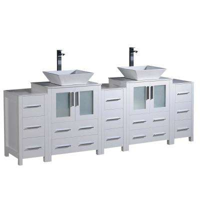Torino 84 in. Double Vanity in White with Glass Stone Vanity Top in White with White Basin and Side Cabinets