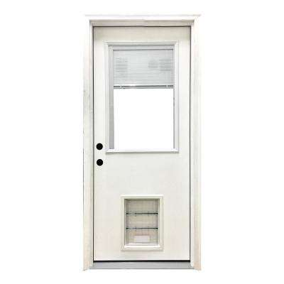 32 in. x 80 in. Classic Clear Mini-Blind RHIS White Primed Fiberglass Prehung Front Door with XL Pet Door