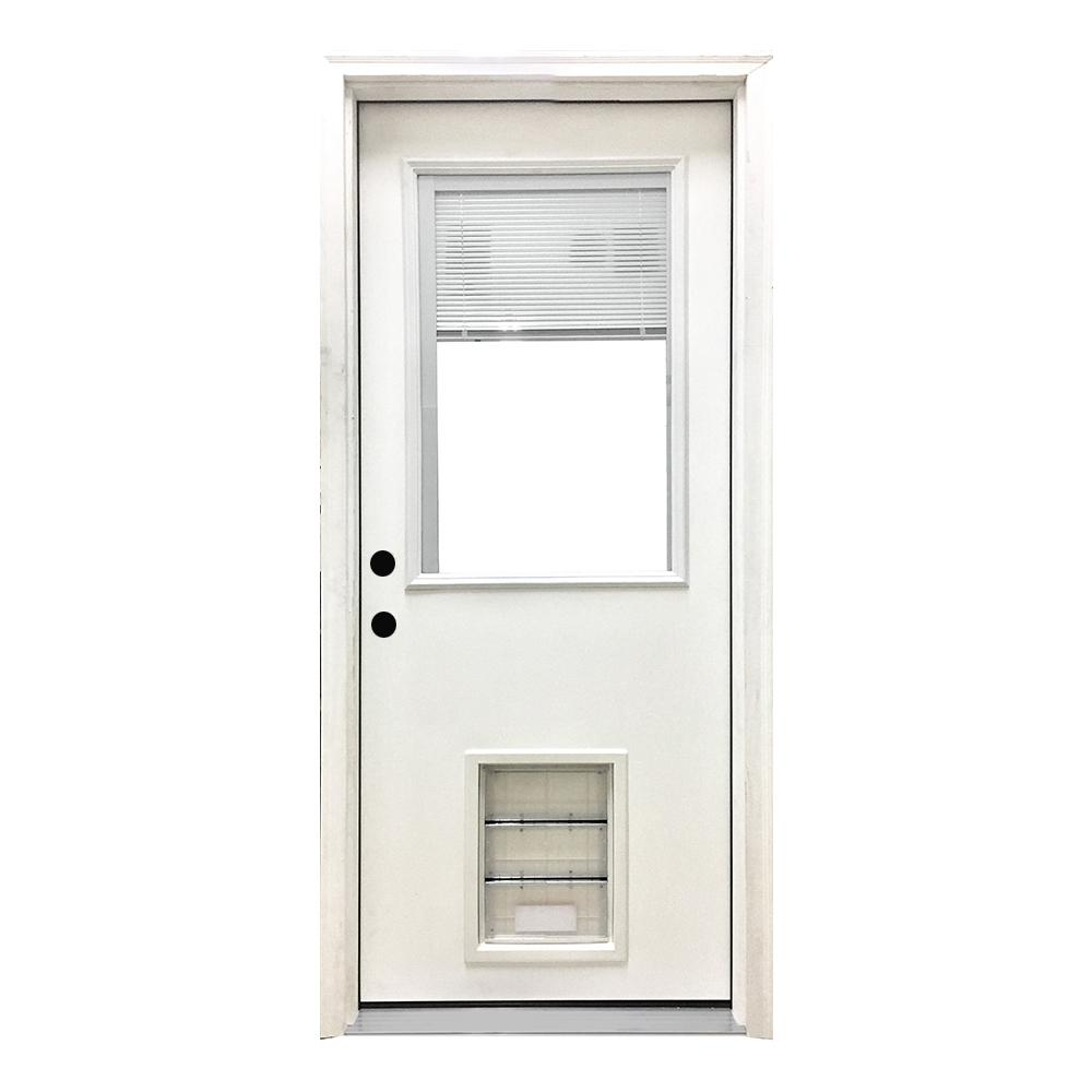Steves & Sons 36 in. x 80 in. Classic Clear Mini-Blind RHIS White Primed Fiberglass Prehung Front Door with XL Pet Door