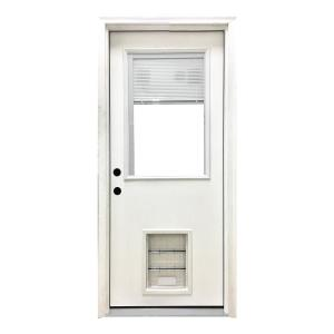 32 In X 80 In Classic Mini Blind Rhis White Primed Textured Fiberglass Prehung Front Door With