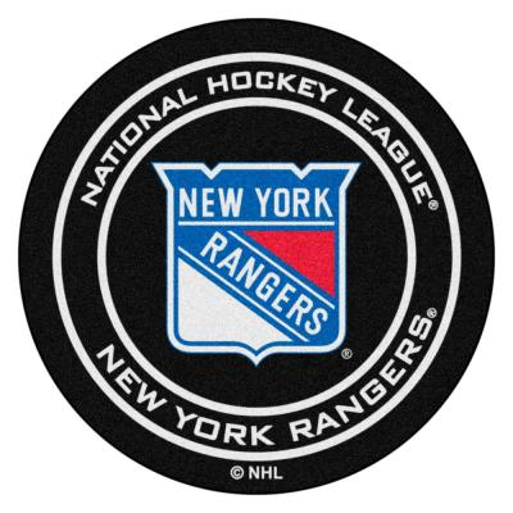 New York Rangers Black 27 in. Round Hockey Puck Mat