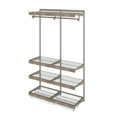 Closet Culture 16 in. x 48 in. W x 78 in. H Wire Closet System with 6 Shelves and Driftwood Fascia