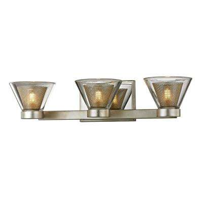 Wink 3-Light Silver Leaf 20 in. W LED Bath Light with Polished Chrome Accents and Clear Glass Shade