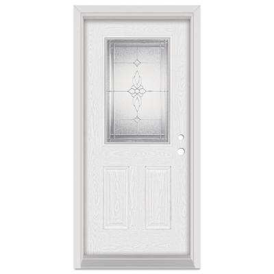 32 in. x 80 in. Victoria Left-Hand 1/2 Lite Zinc Finished Fiberglass Oak Woodgrain Prehung Front Door Brickmould