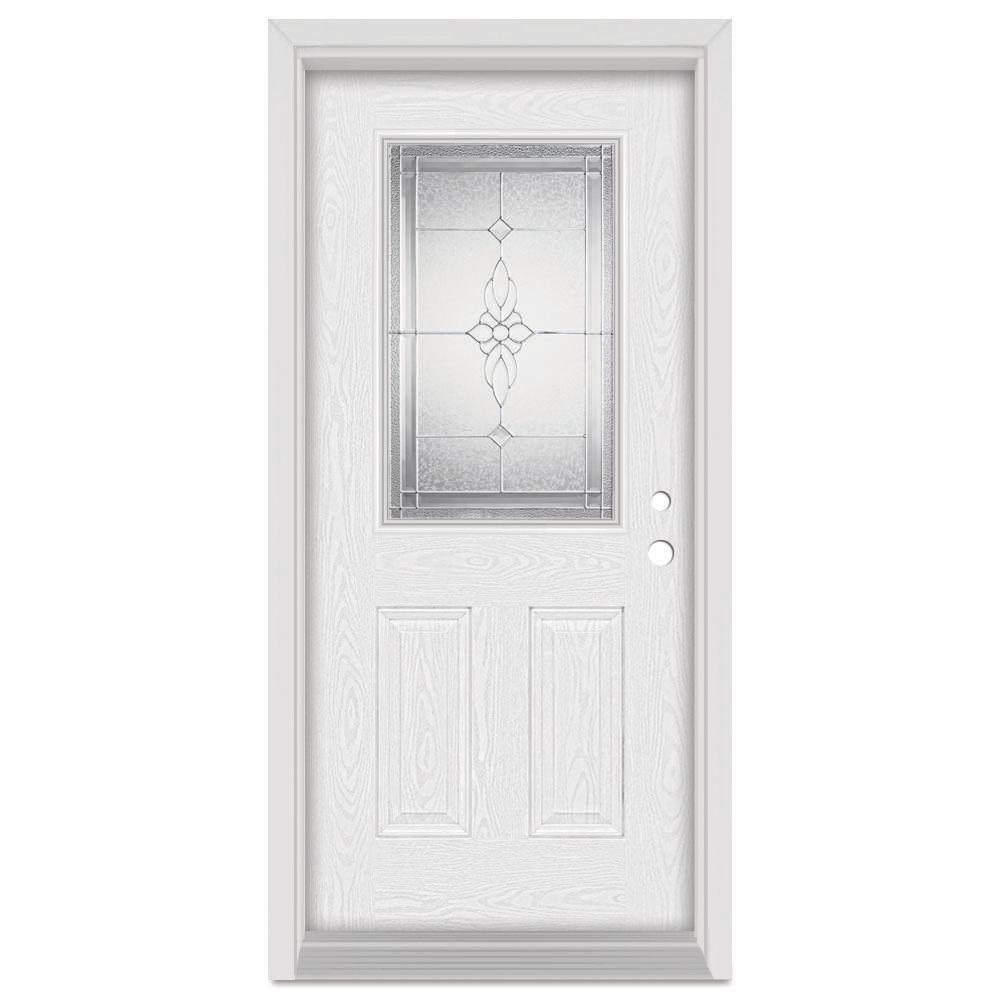 32 in. x 80 in. Victoria Left-Hand 1/2 Lite Zinc Finished Fiberglass Oak Woodgrain Prehung Front Door Brickmould