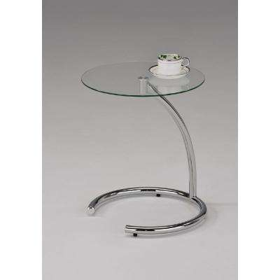 Modern Chrome and Glass End Table