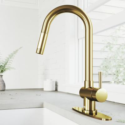 Gramercy Single-Handle Pull-Down Kitchen Faucet with Deck Plate in Matte Gold
