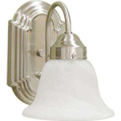 Marti 4.75 in. 1-Light Indoor Brushed Nickel Bath or Vanity Wall Mount Sconce with Alabaster Glass Bell Shade