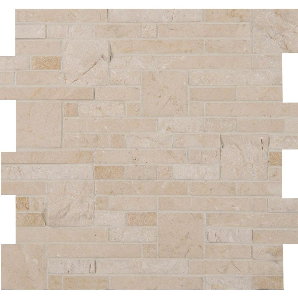 MS International Crema Opus 12 in. x 12 in. x 10 mm Natural Marble Mesh-Mounted Mosaic Floor and Wall Tile