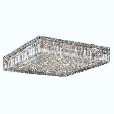 Crystal flushmount lights lighting the home depot cascade collection 13 light chrome and crystal ceiling light aloadofball Image collections
