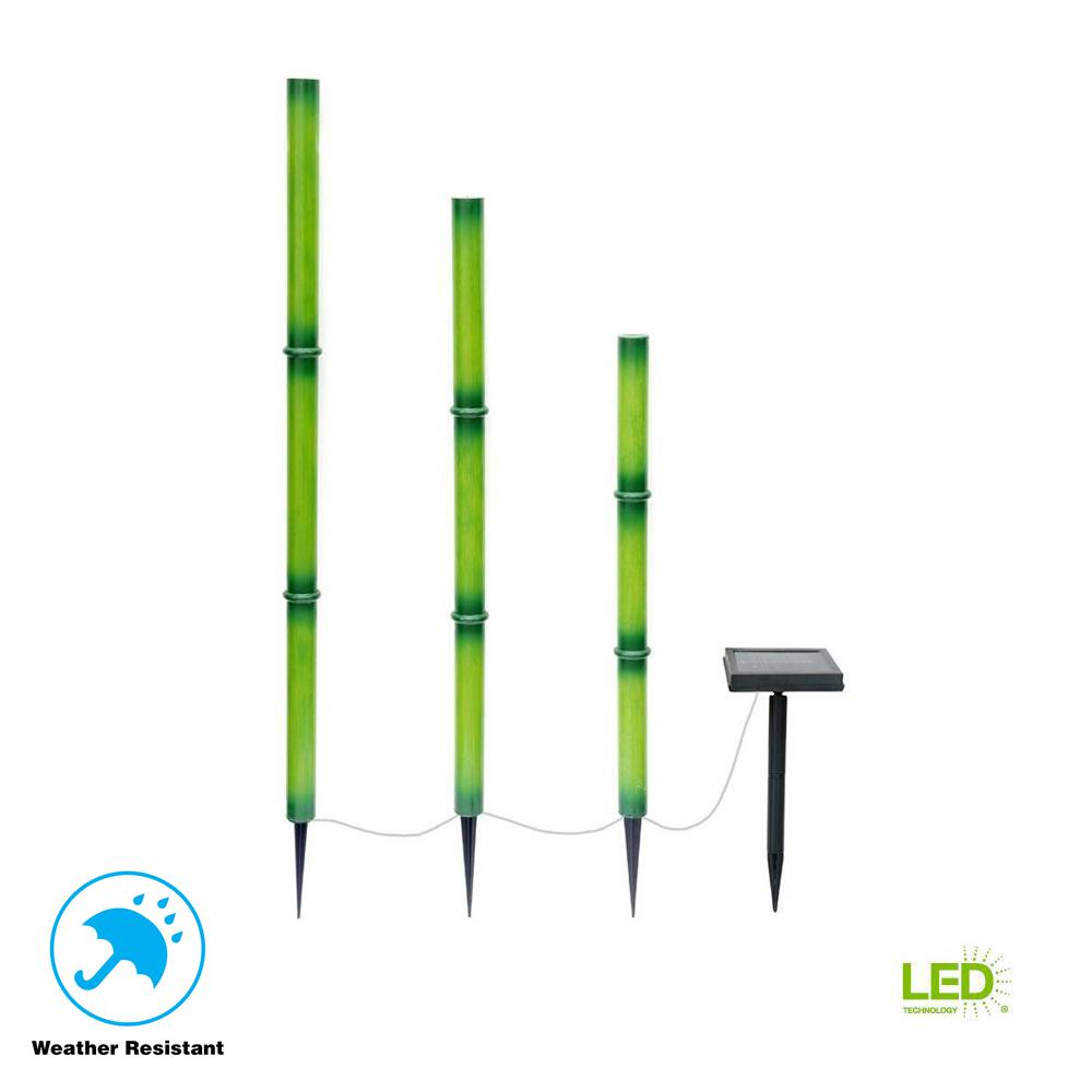 Hampton Bay Solar Green Integrated Led Bamboo Stick Lights With Panel 3 Pack