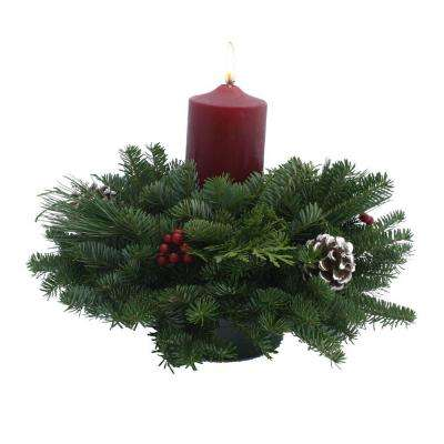 Balsam Fir Classic Round Pillar Candle Fresh Centerpiece : Multiple Ship Weeks Available