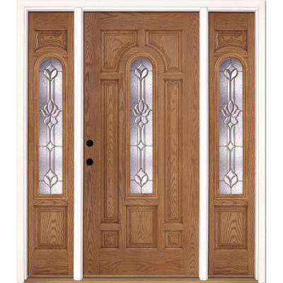 67.5 in.x81.625 in. Medina Brass Center Arch Lt Stained Light Oak Right-Hand Fiberglass Prehung Front Door w/ Sidelites