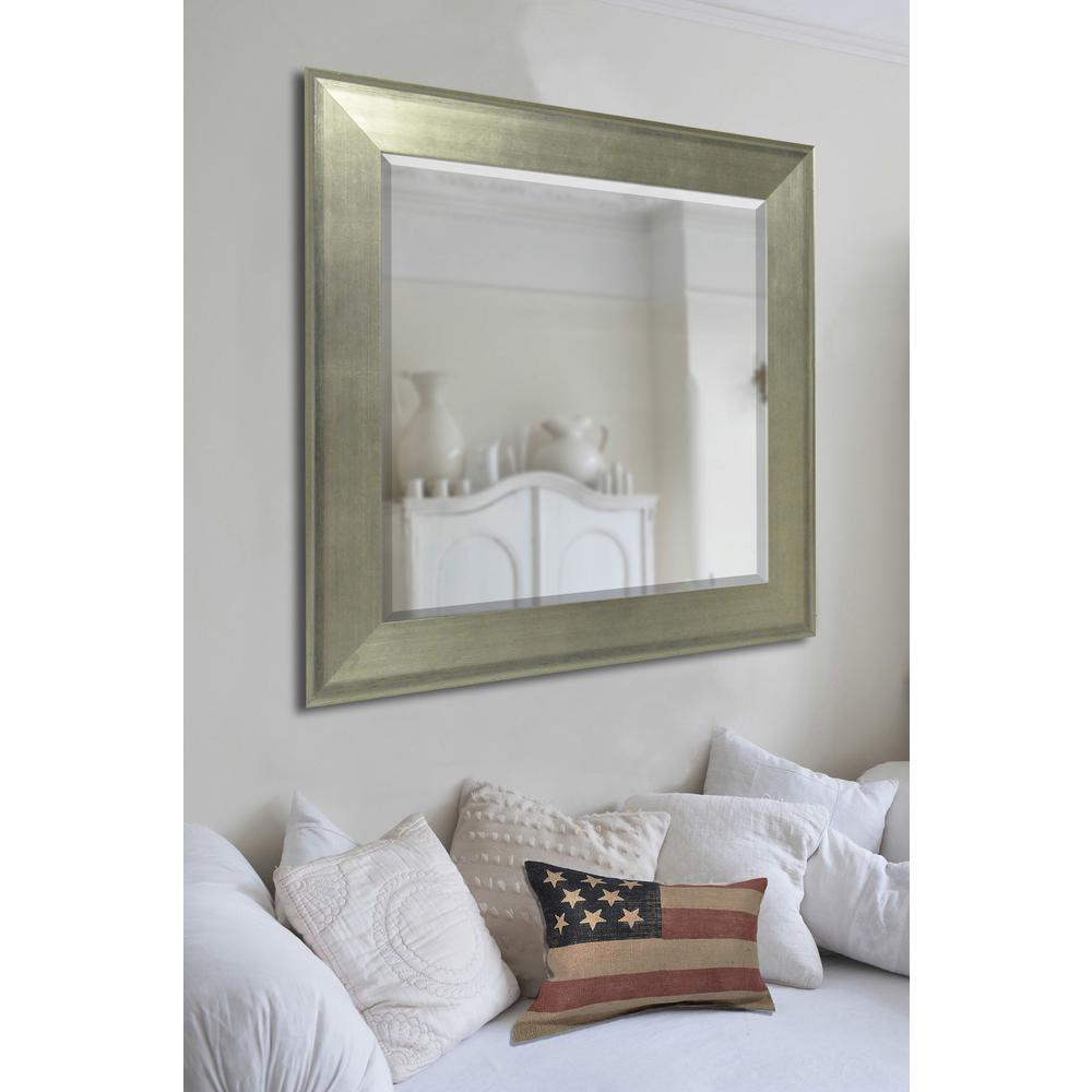 Brushed Silver Rounded Beveled Wall Mirror