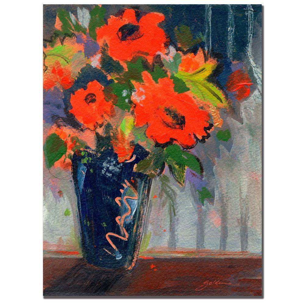 24 in. x 32 in. Striped Wall with Red Flowers Canvas