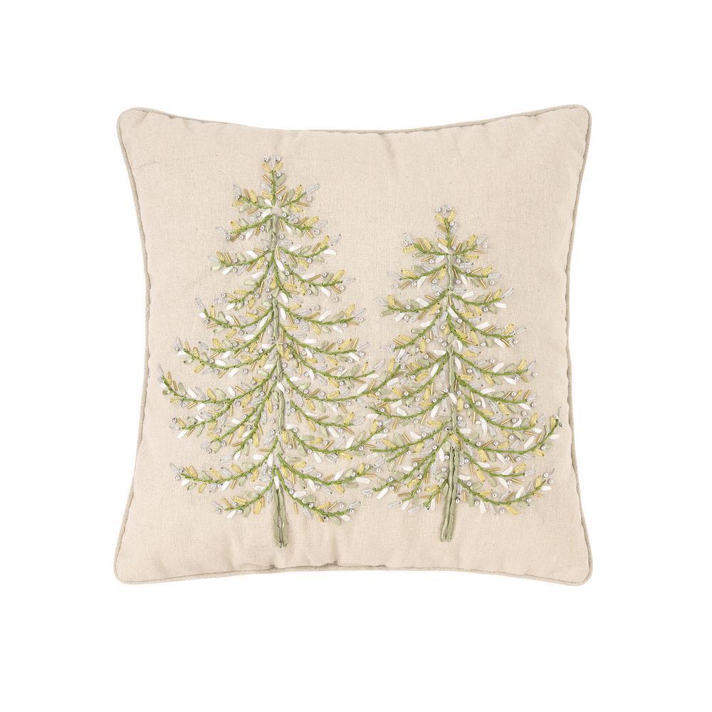 16 in. x 16 in. Winter Garden Ribbon Art Tree Pillow
