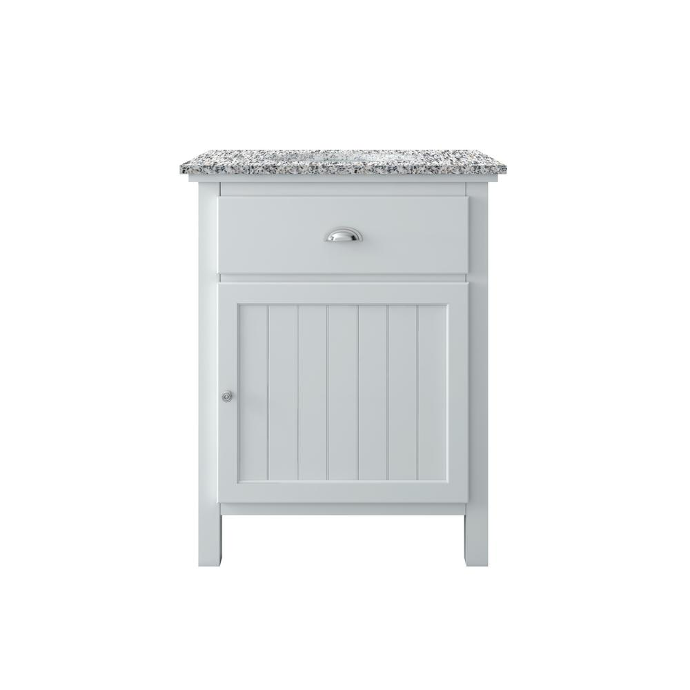 Home Decorators Collection Ridgemore 28 in. W x 22 in. D Vanity in White with Granite Vanity Top in Grey with White Sink