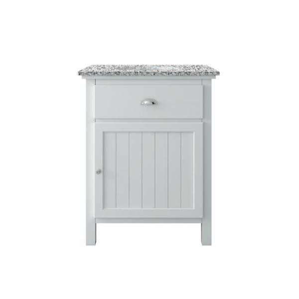 Ridgemore 28 in. W x 22 in. D Vanity in White with Granite Vanity Top in Grey with White Sink