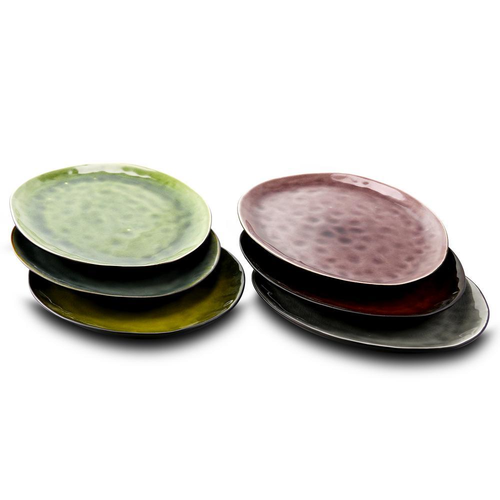 Assorted Color Leaf Shape 10.5 in. Dinner Plates (Set of 6)