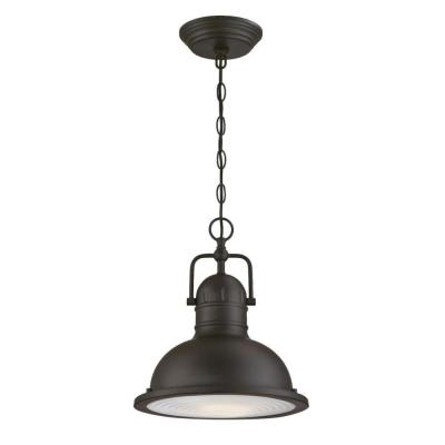 Orson 1-Light Oil Rubbed Bronze LED Outdoor Pendant Light with Clear Prismatic Lens