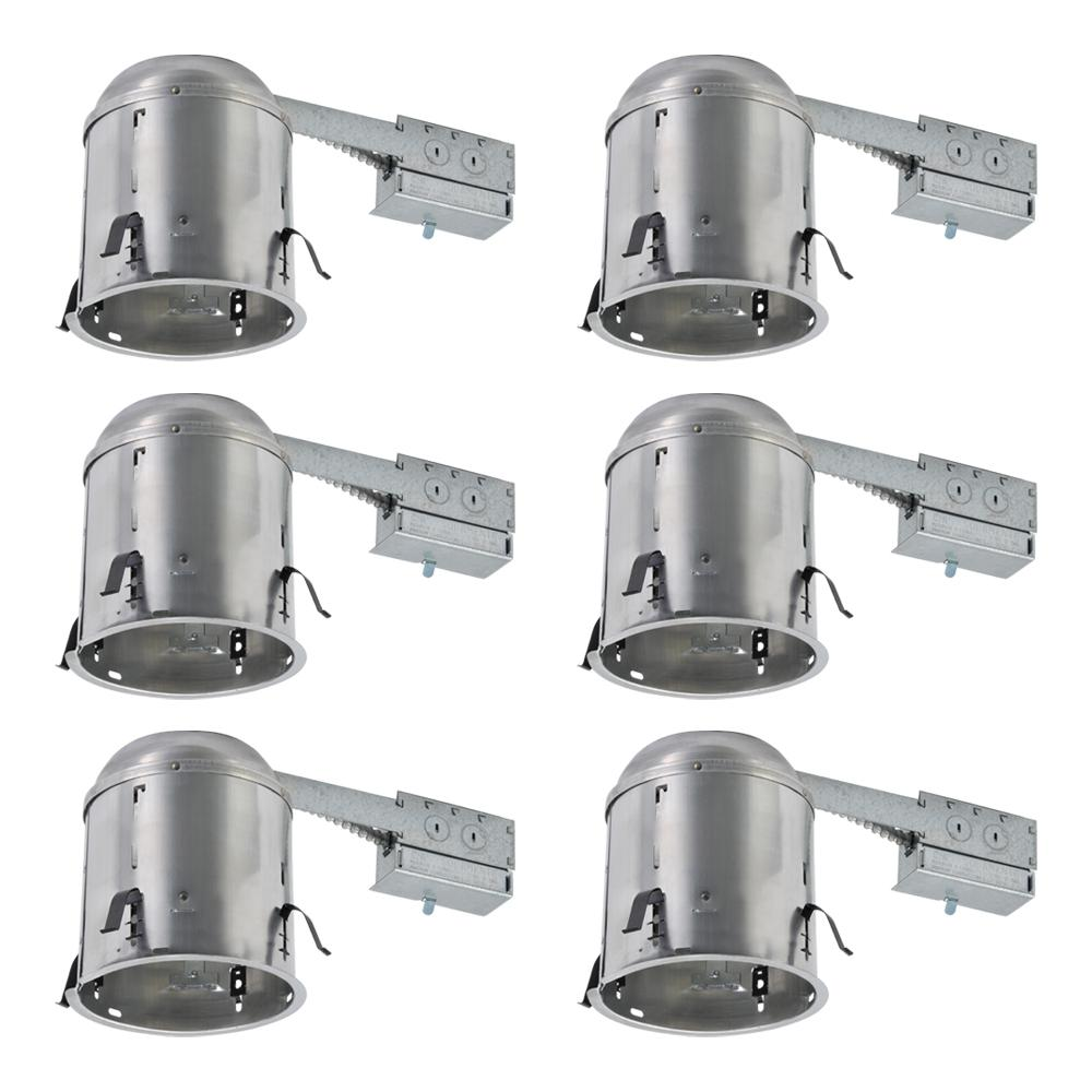 Halo H7 6 in. Aluminum Recessed Lighting Housing for Remodel Ceiling, Insulation Contact (6-Pack)