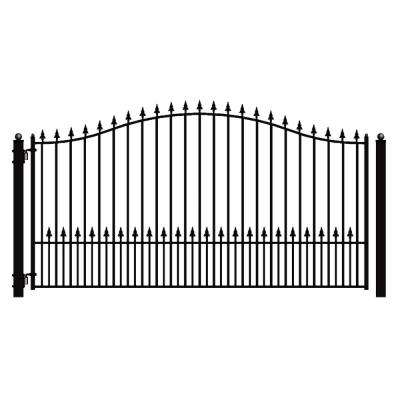 Munich Style 16 ft. x 6 ft. Black Steel Single Swing Driveway Fence Gate