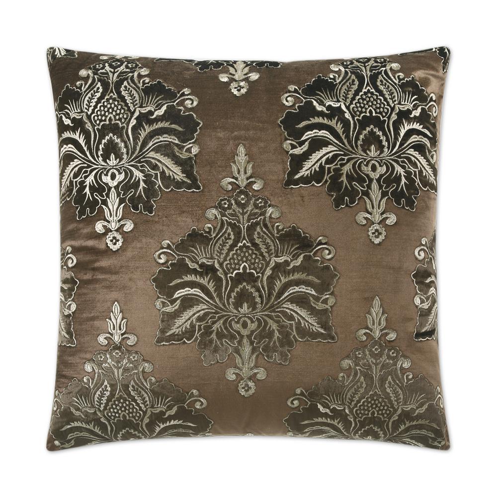 Taj Mahal Brown Feather Down 24 in. x 24 in. Standard Decorative Throw Pillow