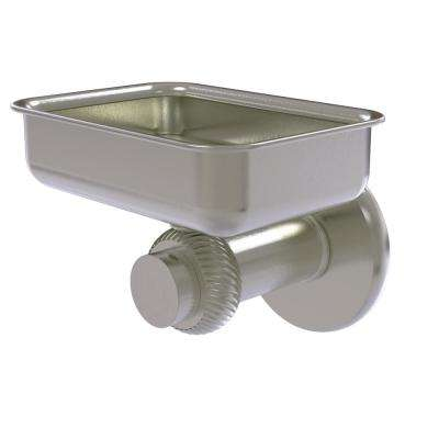Mercury Collection Wall Mounted Soap Dish with Twisted Accents in Satin Nickel