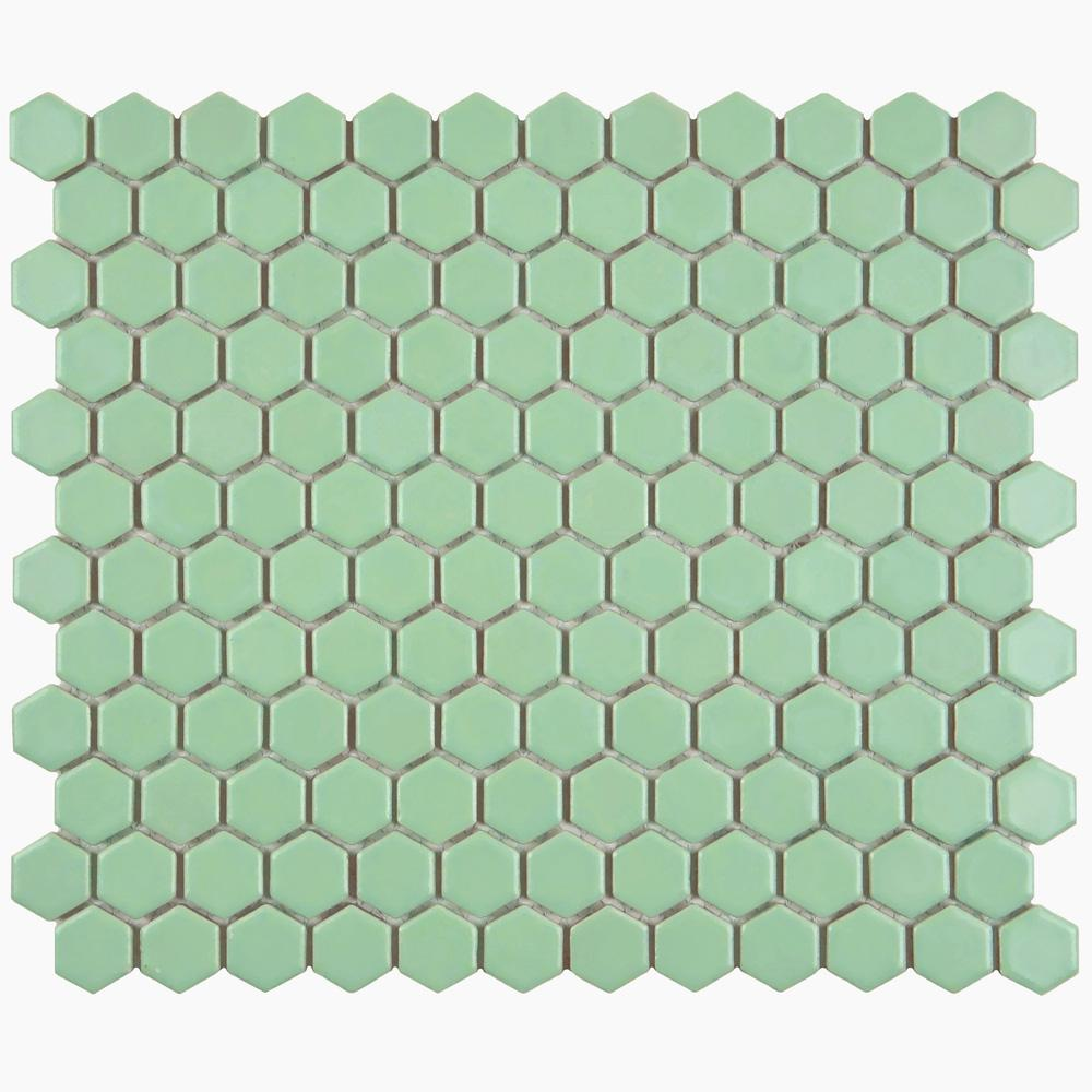 Merola Tile Metro Hex Matte Light Green 10-1/4 in. x 11-3/4 in. x 5 mm Porcelain Mosaic Tile (8.56 sq. ft. / case)