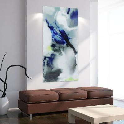 """Blue Splash"" Frameless Free Floating Tempered Art Glass by EAD Art Coop Wall Art"