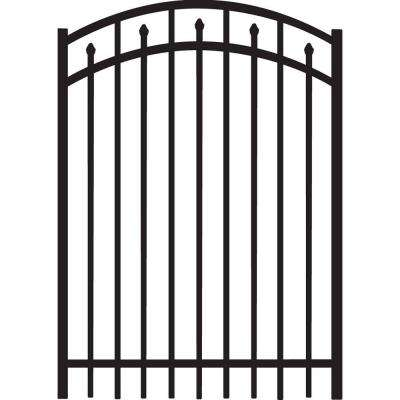 Brilliance 4 ft. W x 5 ft. H Black Heavy-Duty Aluminum Arched Pre-Assembled Fence Gate