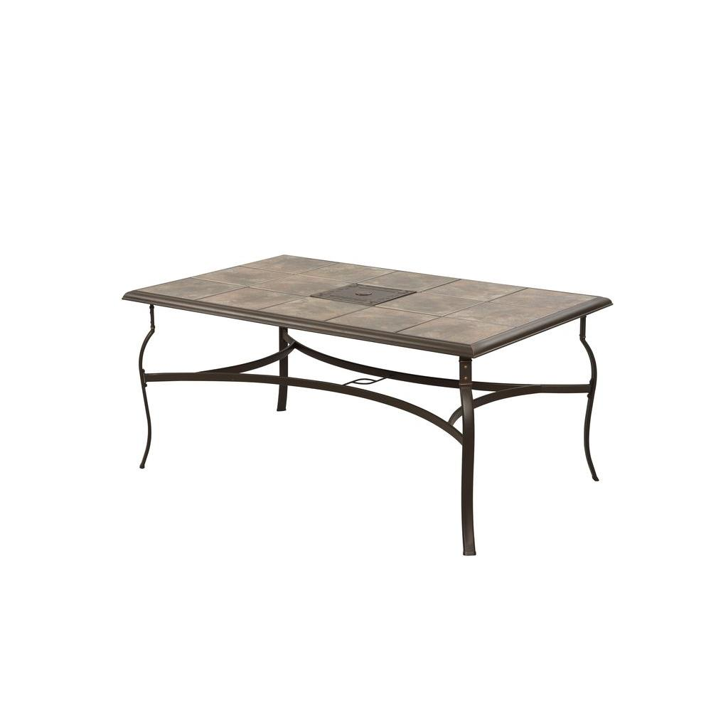 Belleville Rectangular Patio Dining Table Attractive Ceramic Tile Top