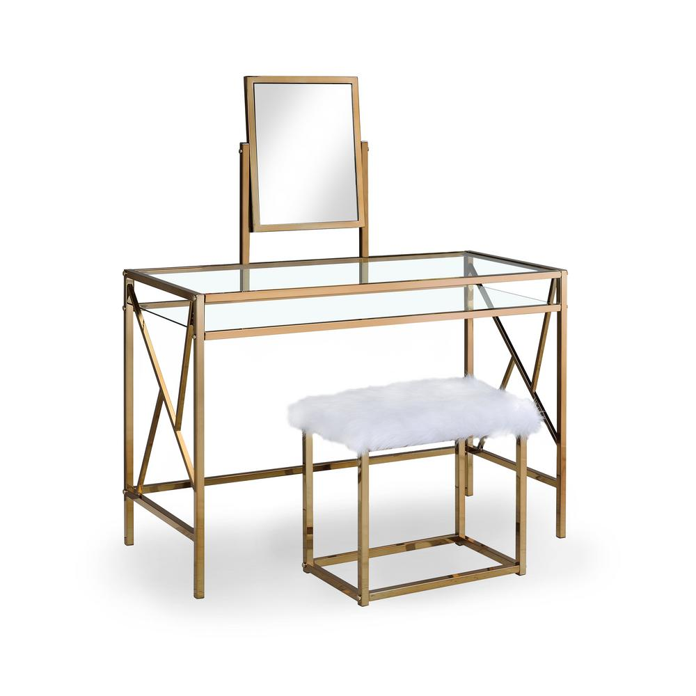 Helaine Contemporary 2-Piece in Champagne Metal Vanity and Stool Set