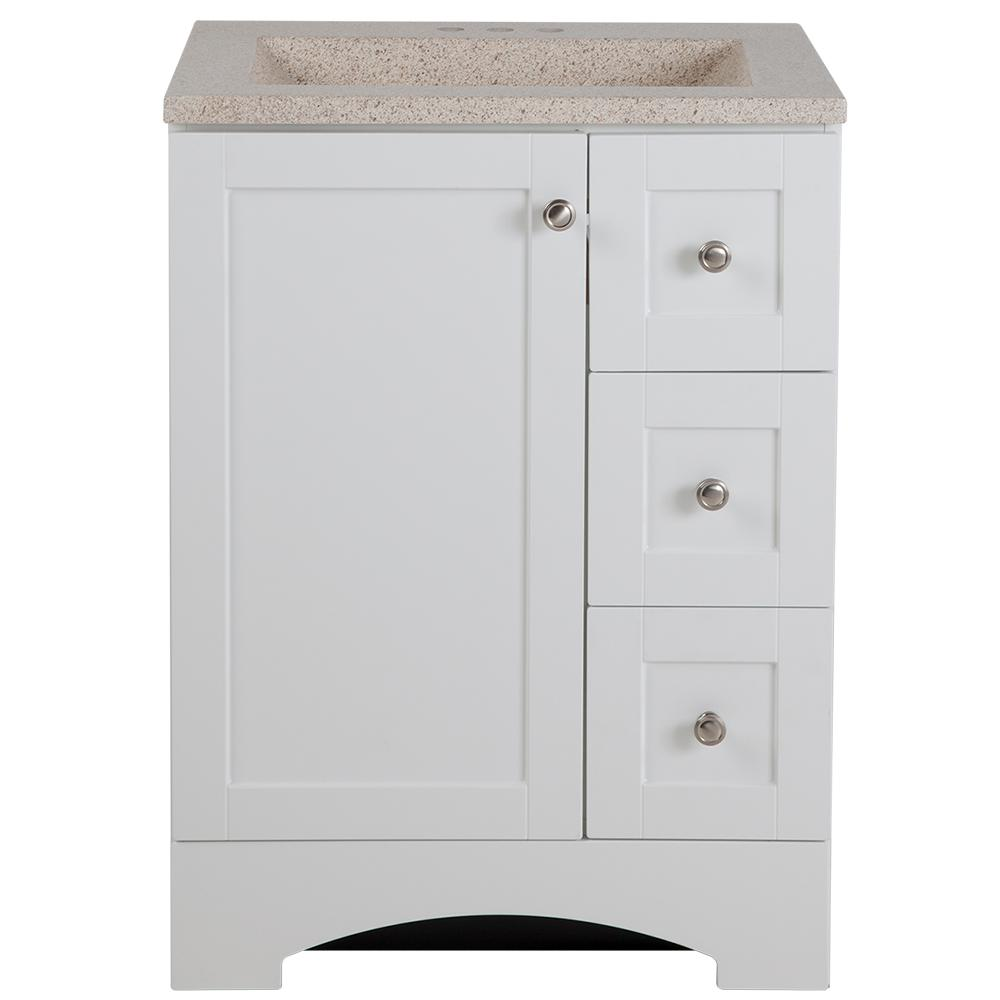 Glacier Bay Lancaster 24 In W Vanity White With Colorpoint Top Maui Lc24p2m Wh The Home Depot