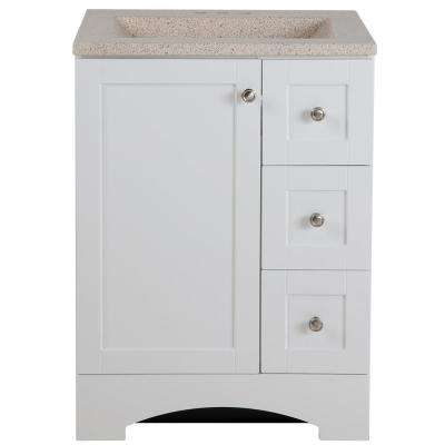 Lancaster 24 in. W x 19 in. D Bath Vanity in White with Colorpoint Vanity Top in Maui