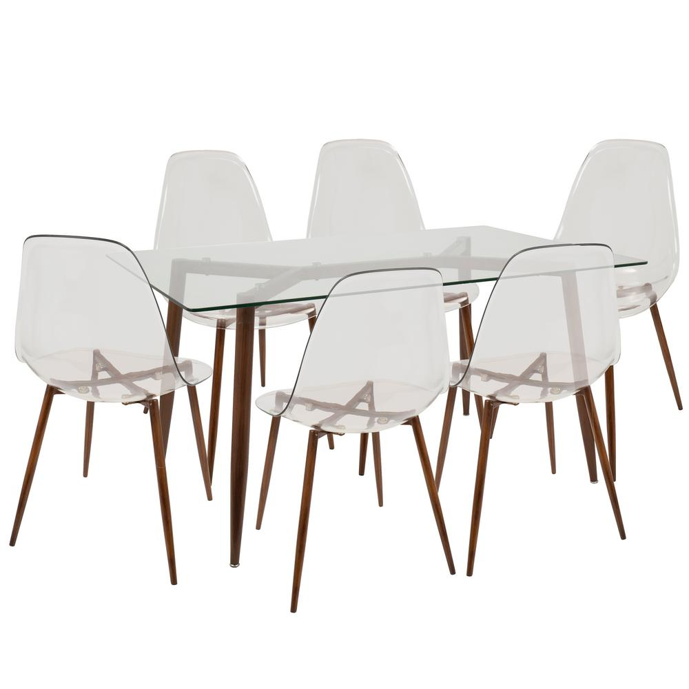 Mid Century Walnut Dining Chairs Part - 20: Lumisource Clara Mid-Century Clear and Walnut Modern 7-Piece Dining Set