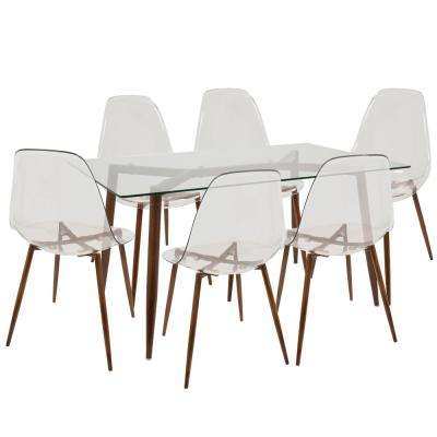 Clara Mid-Century Clear and Walnut Modern 7-Piece Dining Set