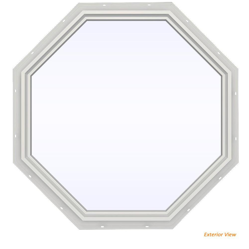 47.5 in. x 47.5 in. V-4500 Series White Vinyl Fixed Octagon Geometric Window w/ Low-E 366 Glass