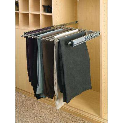 18.125 in. x 3 in. Chrome Pull-Out Pants Garment Rack with Full-Extension Slides