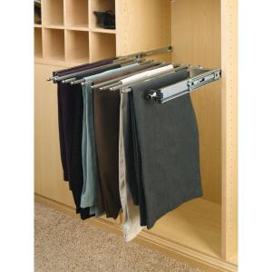 Rev-A-Shelf 3 inch H x 18.125 inch W x 14 inch D Chrome Pull-Out Pants Rack with Full-Extension Slides by Rev-A-Shelf