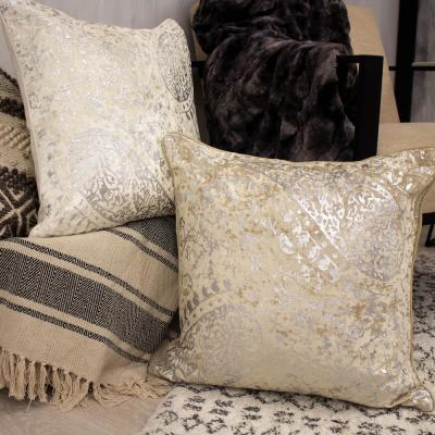 Ashlyn Ivory Geometric Polyester 20 in. x 20 in. Throw Pillow