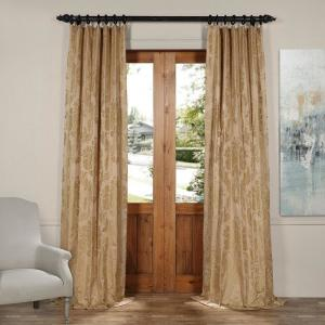 Exclusive Fabrics & Furnishings Magdelena Beige and Gold Faux Silk Jacquard Curtain Panel - 50 inch W x 120 inch L by Exclusive Fabrics & Furnishings