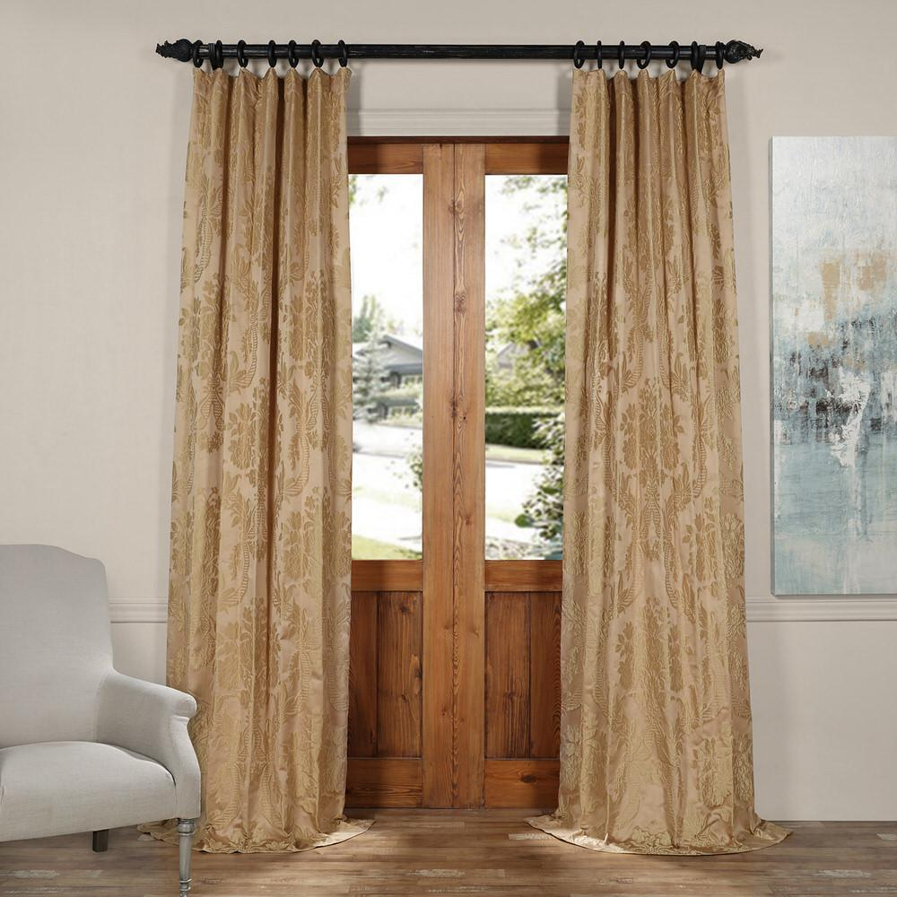 Magdelena Beige and Gold Faux Silk Jacquard Curtain Panel - 50